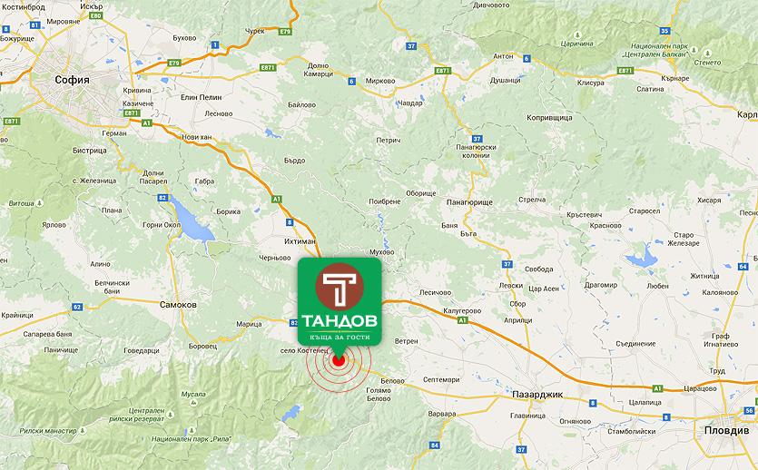 Карта - Къща за гости Тандов